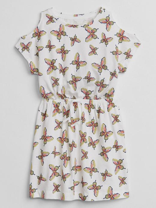 Düşük omuzlu desenli elbise