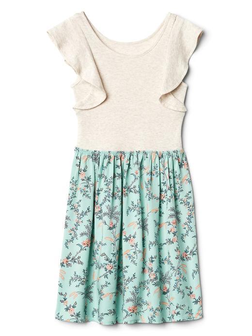 Fırfır kollu çiçek desenli elbise