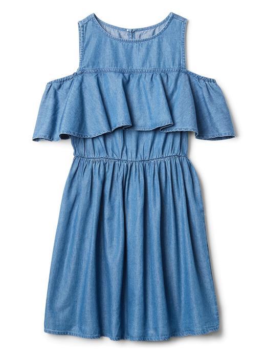 Denim açık omuzlu elbise