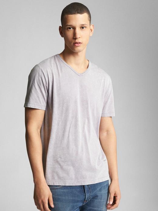 Vintage yıkamalı kısa kollu v yaka t-shirt