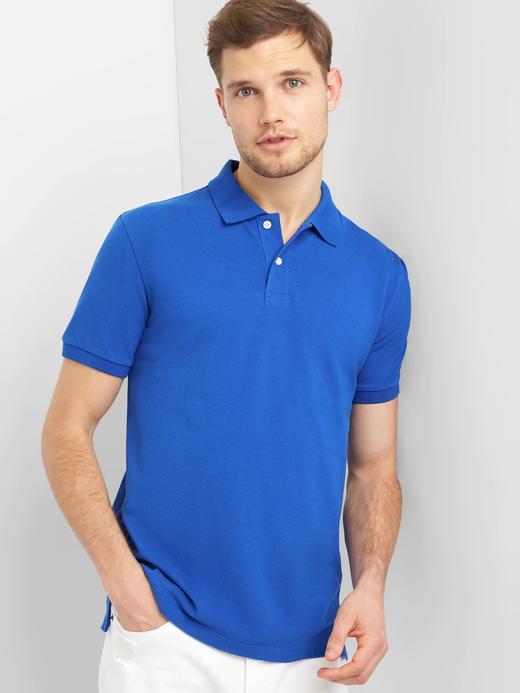 mavi Kısa kollu Streç Pique Polo T-Shirt