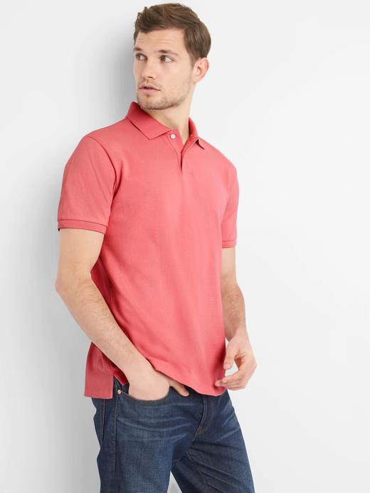 Kırmızı Kısa kollu Streç Pique Polo T-Shirt