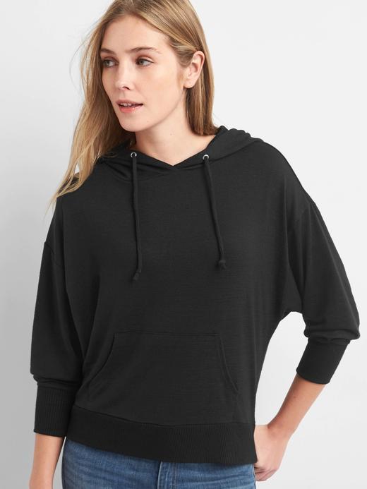 Siyah Softspun kapüşonlu sweatshirt