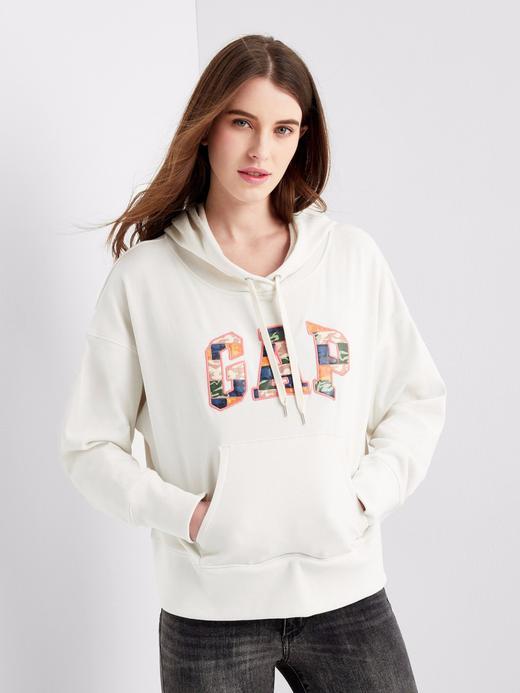 Kadın kirli beyaz Kamuflaj Gap Logo Kapüşonlu Sweatshirt