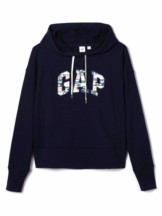 lacivert Kamuflaj Gap Logo Kapüşonlu Sweatshirt
