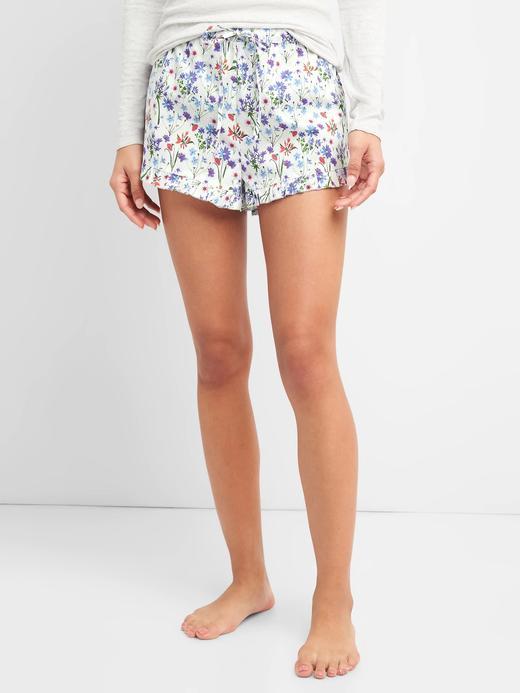 Kadın beyaz Desenli poplin şort pijama