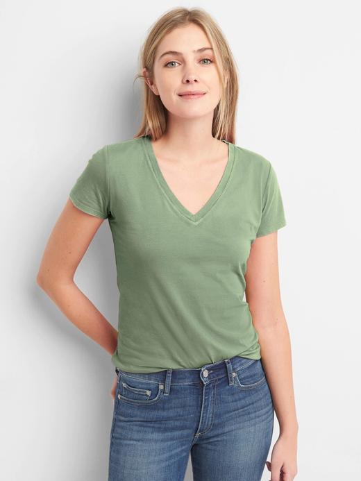 yeşil Kadın Kısa Kollu V Yakalı Vintage T-Shirt