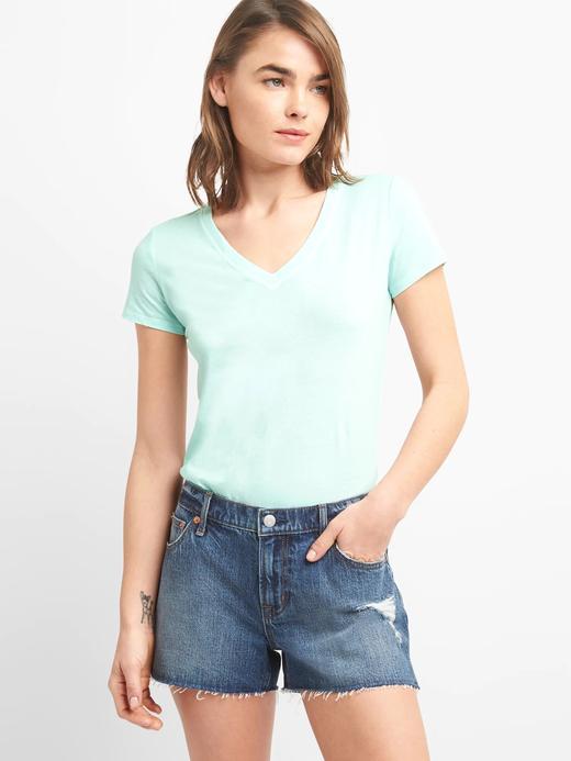 mavi Kadın Kısa Kollu V Yakalı Vintage T-Shirt