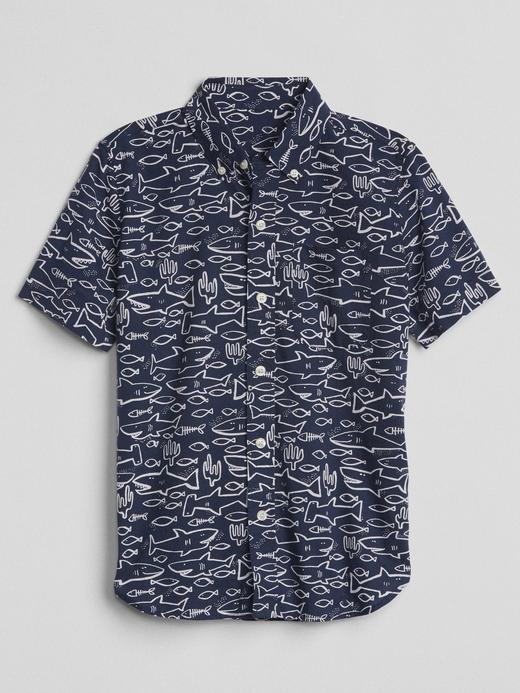 Kısa kollu desenli poplin gömlek