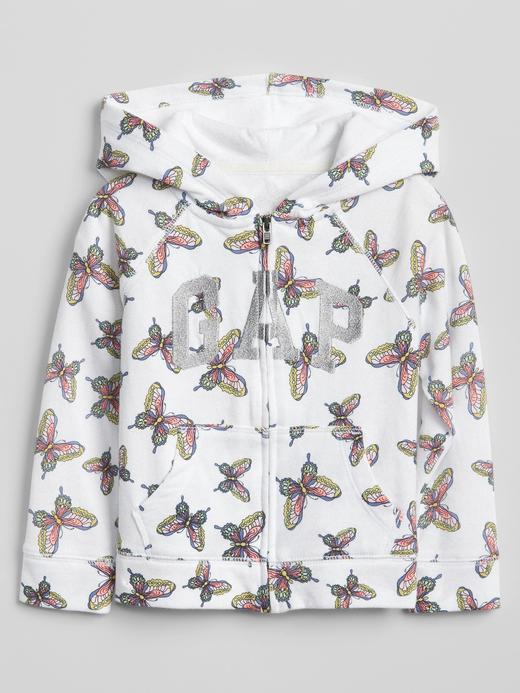 Desenli kapüşonlu fransız havlu kumaşı sweatshirt