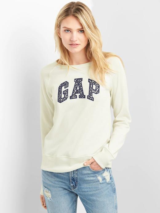 Logolu dantel detaylı sıfır yaka fransız havlu kumaşı sweatshirt