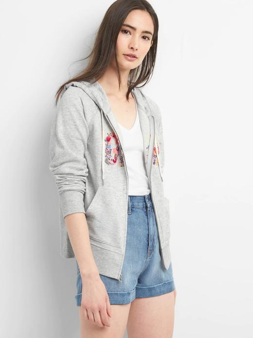 Çiçek desenli logolu kapüşonlu sweatshirt