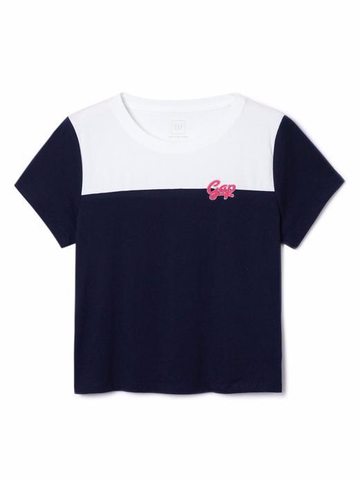 Kadın lacivert Logolu kısa kollu t-shirt