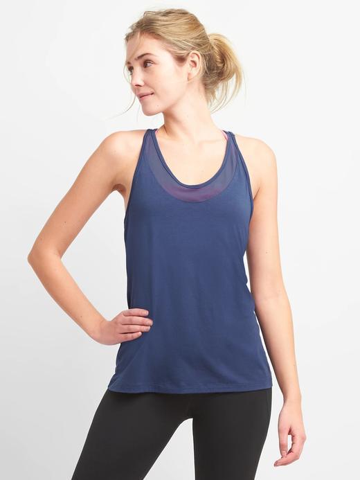 Kadın mavi GapFit arka detaylı atlet