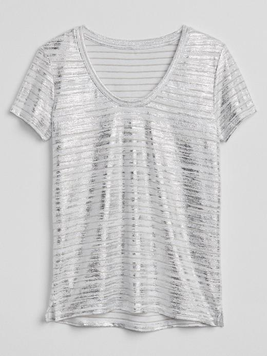 Çizgili kısa kollu keten t-shirt