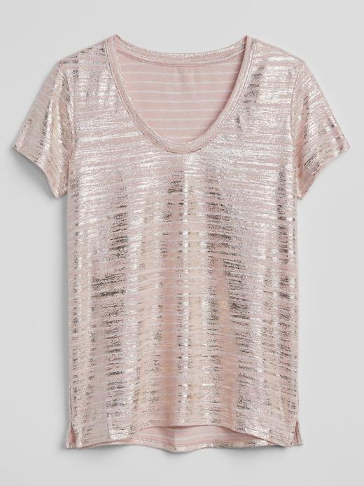 pembe çizgili Çizgili kısa kollu keten t-shirt