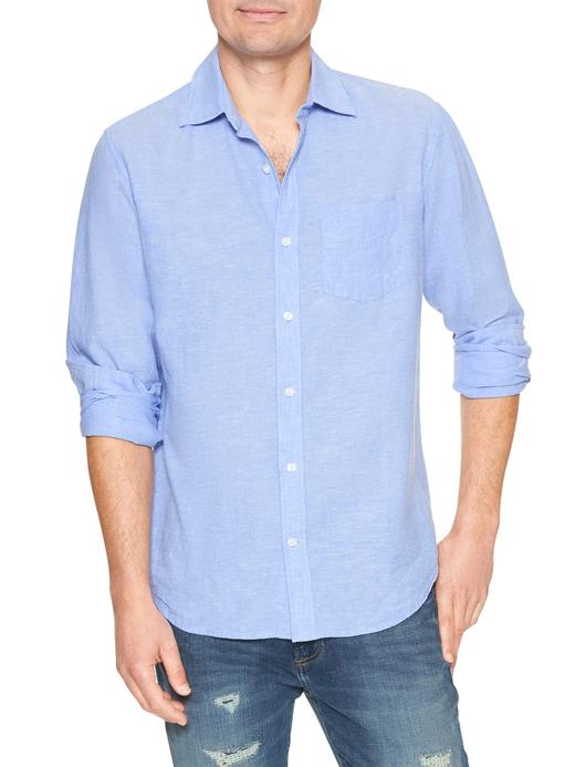Standart fit uzun kollu keten gömlek