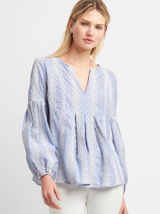 Mavi Desenli şambre bluz
