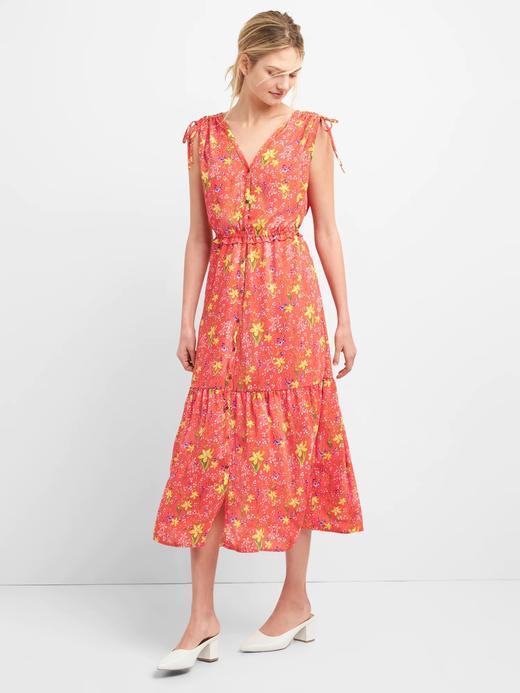 Kadın mercan Çiçek desenli midi elbise