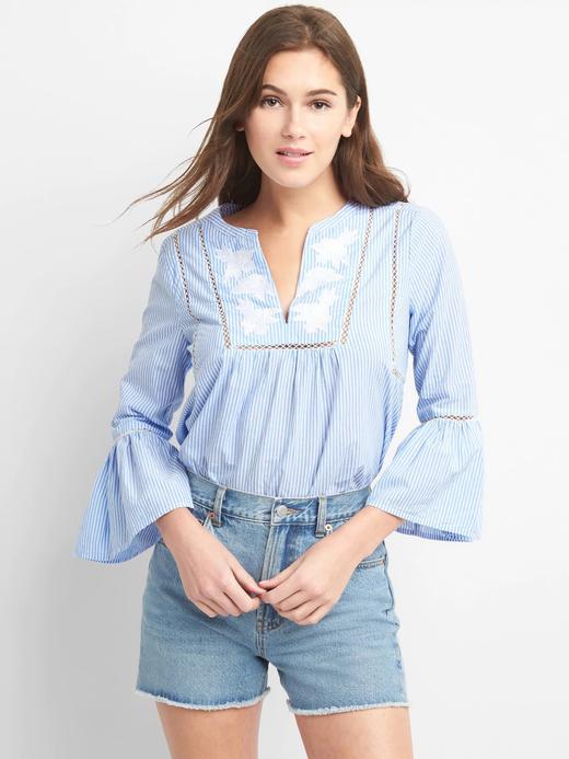 İşlemeli çizgili bluz