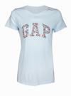 Logolu çiçek desenli kısa kollu t-shirt