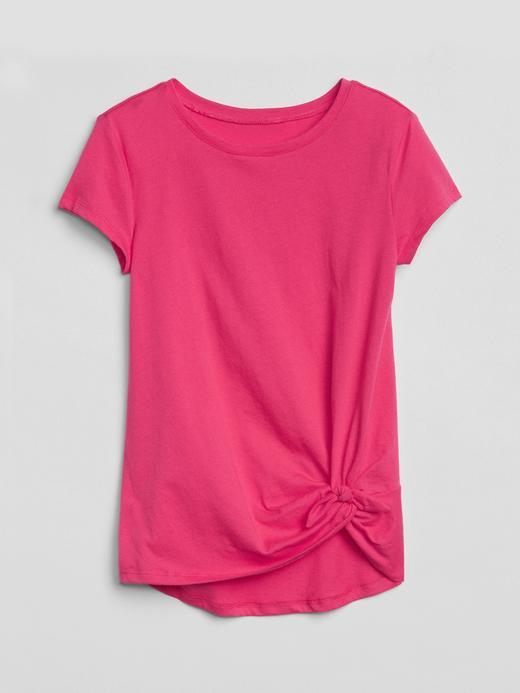 Kız Çocuk fuşya Önden bağlamalı kısa kollu t-shirt