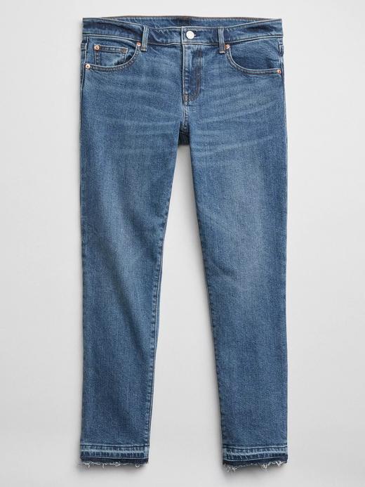 Dark indigo yıkamalı girlfriend jean pantolon