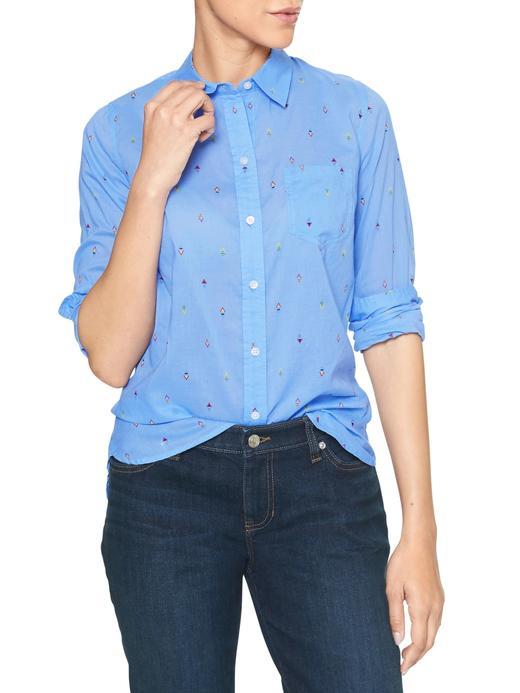 Desenli pamuklu boyfriend gömlek
