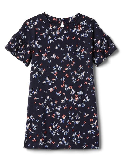 Desenli Fırfır Kollu Elbise