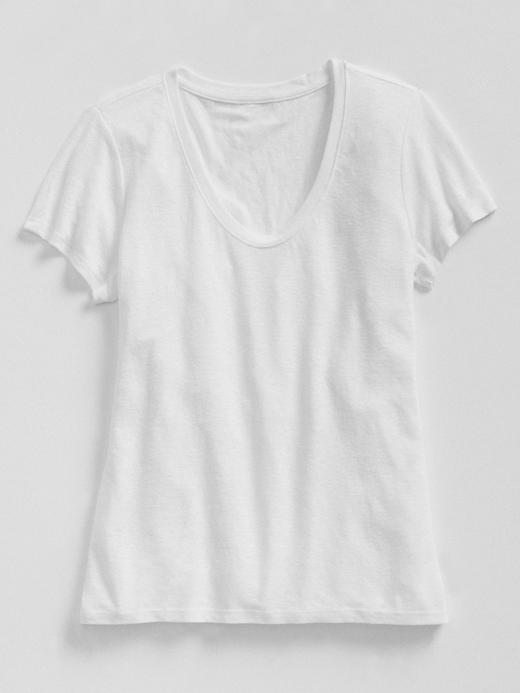 Keten Karışımlı Kısa Kollu T-Shirt