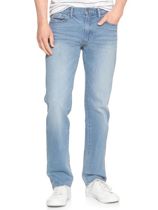 Straight fit açık renk yıkamalı jean pantolon