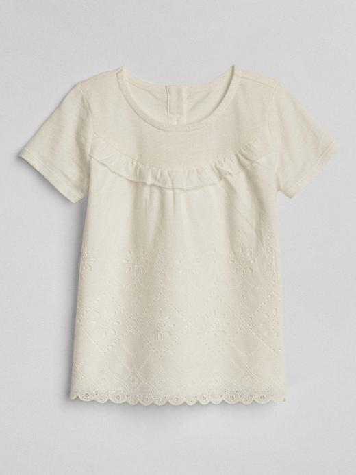 Fırfır detaylı kısa kollu t-shirt