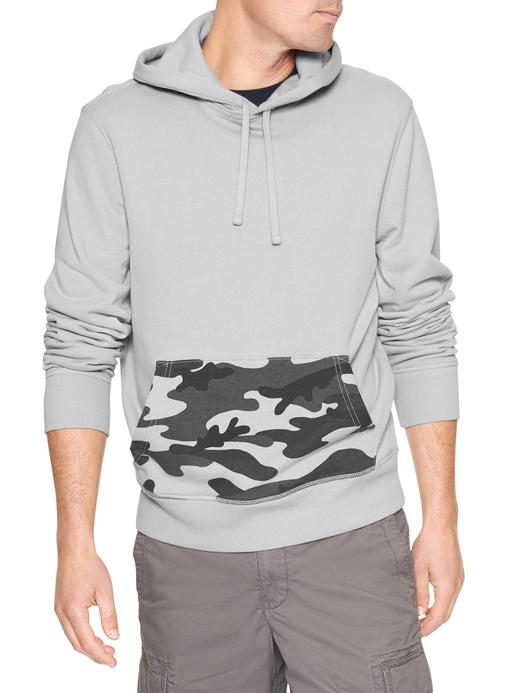 gümüş Kapüşonlu fransız havlu kumaşı sweatshirt