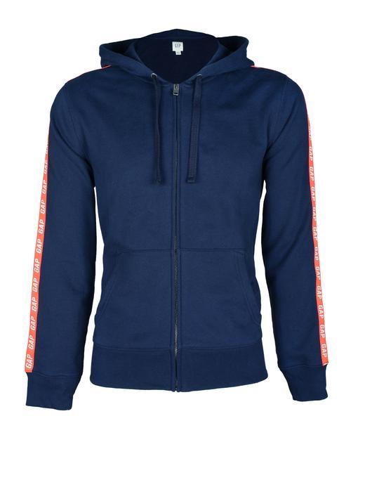 Logolu fermuarlı kapüşonlu sweatshirt