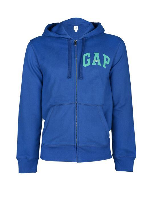 mavi kareli Logolu fermuarlı kapüşonlu sweatshirt