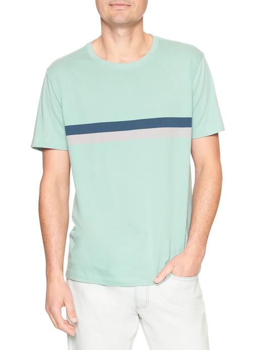 Çizgili kısa kollu yuvarlak yaka t-shirt