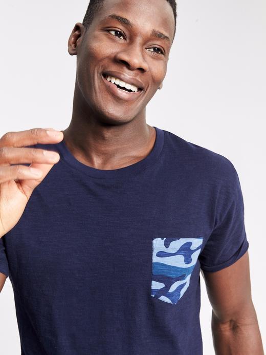 gece mavisi Kısa kollu kamuflaj deseni detaylı t-shirt