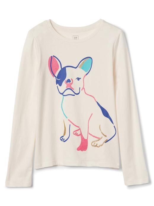 Kız Çocuk renkli Grafik desenli uzun kollu t-shirt