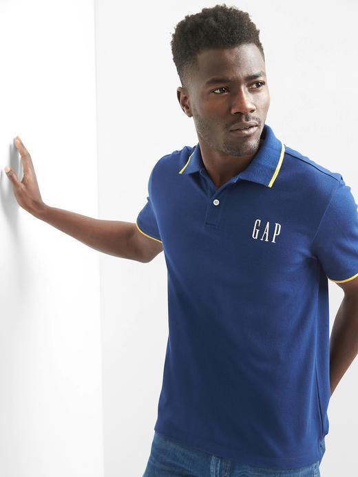 mavi kareli Gap Logo Polo T-shirt