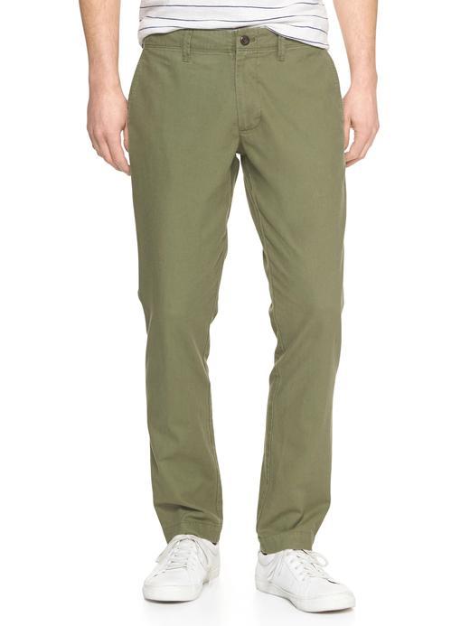 Erkek kaktüs yeşili Pamuk ve Keten Karışımlı Slim Fit Chino Pantolon