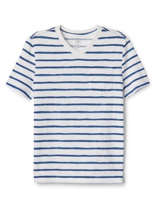 Çizgili kısa kollu v yaka t-shirt
