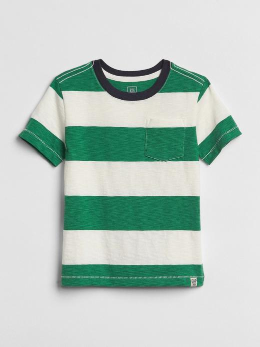 yeşil Cepli çizgili kısa kollu t-shirt