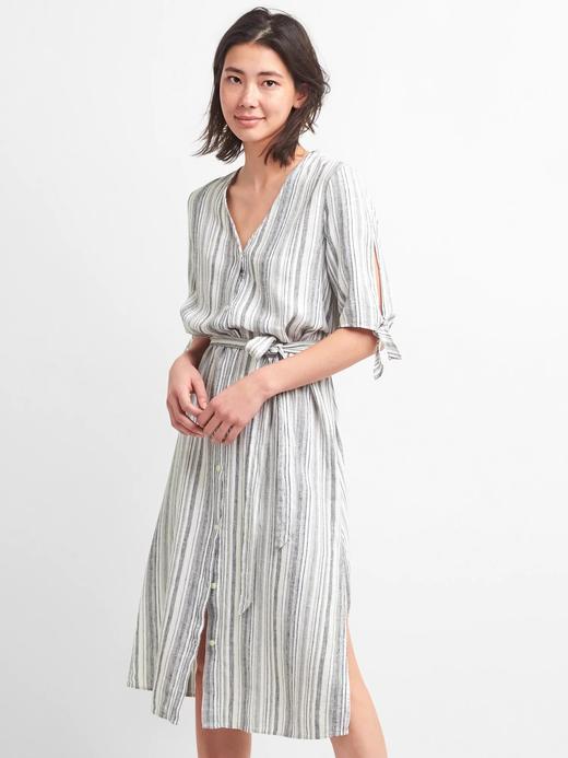 siyah beyaz çizgili Çizgili v yaka midi gömlek elbise