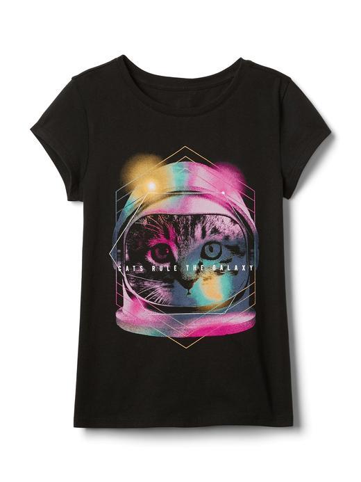 Siyah Grafik desenli pırıltılı t-shirt