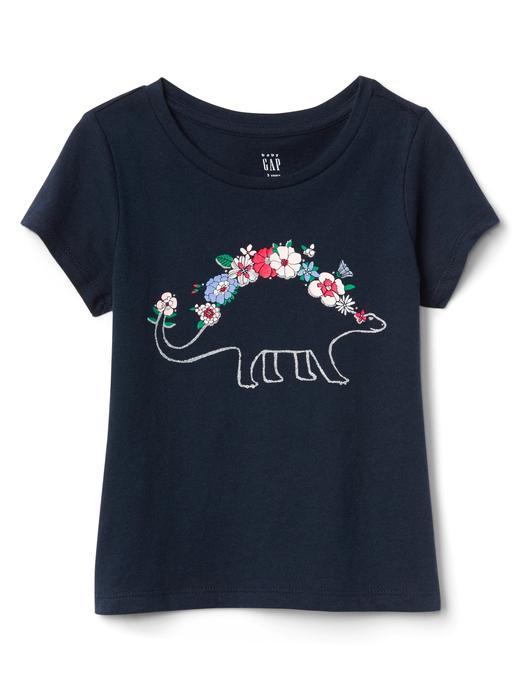 Bebek dino Grafik desenli kısa kollu t-shirt