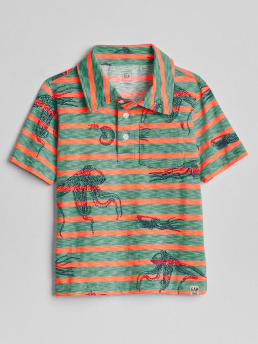 Yeşil Grafik desenli çizgili polo t-shirt