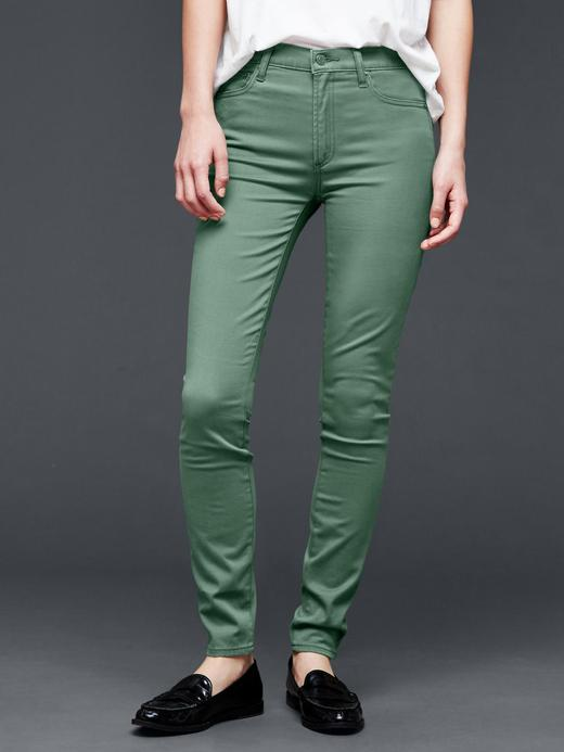 Kadın yeşil 1969 saten high rise true skinny jean