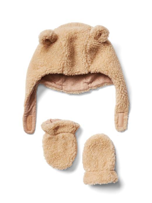 Bebek açık kahverengi Cozy şapka eldiven seti