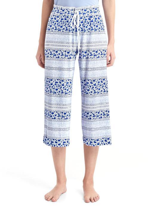 Kadın mavi Desenli kısa paça pijama