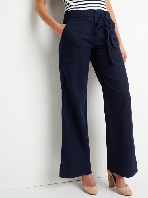 Kuşaklı bol paça pantolon